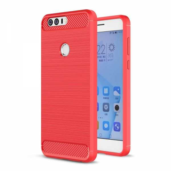 Huawei Honor 8 Hülle - Carbonfaser SoftCase - rot - yourmobile.ch
