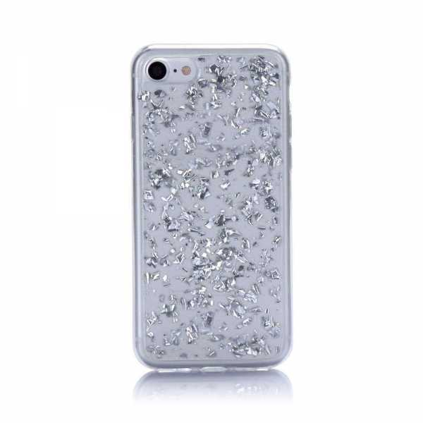 Apple iPhone 7 Hülle - Folien Glitzer - silber- yourmobile.ch 2