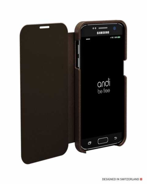 Samsung Galaxy S7 Edge Hülle - Wireless Charging Leder Book Case - braun