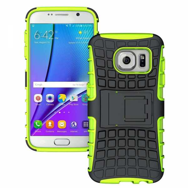 Samsung Galaxy S7 Edge Hülle - Survivor - 2in1 Stand Back Cover - TPU Case - grün - yourmobile.ch