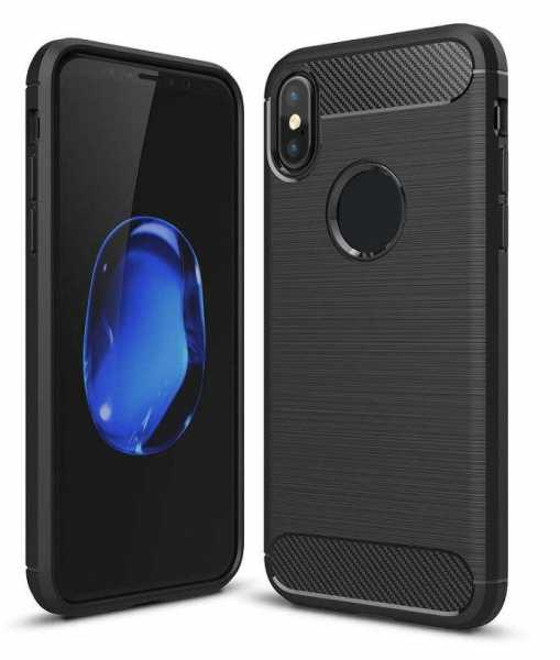 Apple iPhone XS / X Hülle - Carbonfaser SoftCase - schwarz