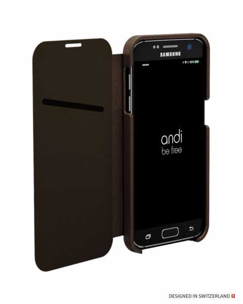 Samsung Galaxy S7 Hülle - Wireless Charging Leder Book Case - braun