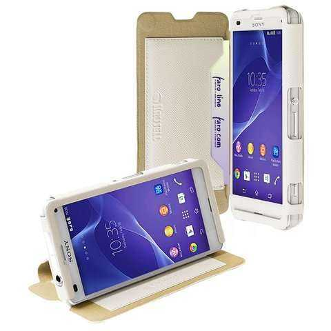 Sony Xperia Z3 Compact Case - Krusell - BookCase Malmö Stand - weiss - yourmobile.ch - 22806