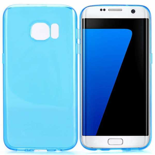 Samsung Galaxy S7 Edge Hülle - TPU Cover - FeatherLine - transparent-blau - yourmobile.ch