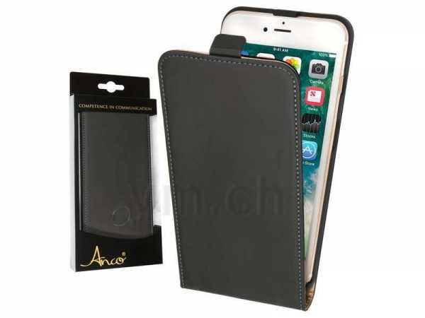Apple iPhone 7 Plus Case - Anco - Premium FlipCase - Echtleder - schwarz - yourmobile.ch
