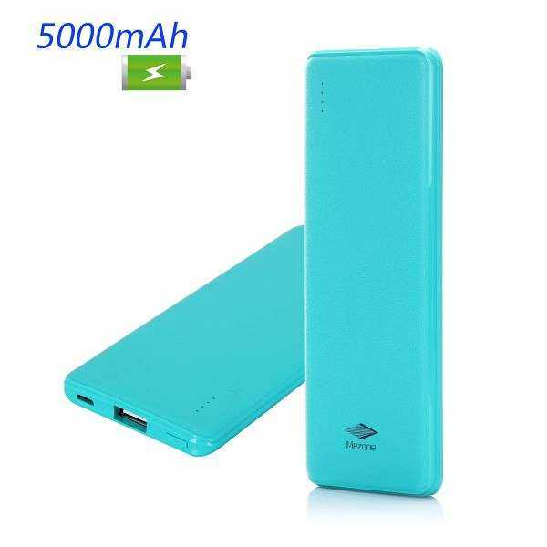 Mezone - Ultradünne tragbare 5000mAh Power Bank - blau