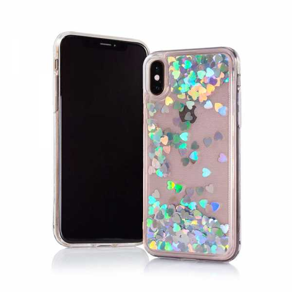 Apple iPhone XS Max Hülle - Hard TPU Case - Liquid Heart - silber