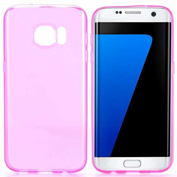 Samsung Galaxy S7 Edge Hülle - TPU Cover - FeatherLine - transparent-pink - yourmobile.ch
