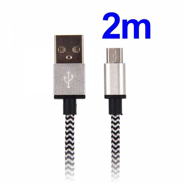 Datenkabel Universal - microUSB Premium - 2 Meter Länge - silber - yourmobile.ch 1