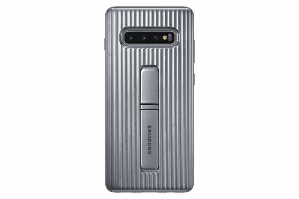 Samsung Galaxy S10 Plus Hülle - EF-RG975 Protectiv Stand Cover - silber