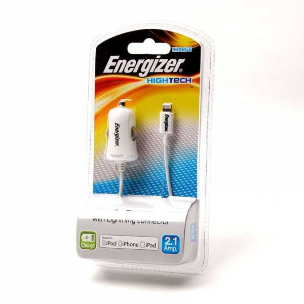 Apple iPhone 5 / 5S / 5C / 6 / 6 Plus - Energizer - KFZ-Ladekabel - Weiss 2100mAh (Made for iPhone)