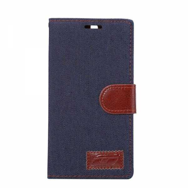 Huawei P9 Plus Case - Jeans Design BookCase - PU-Leder - blau-braun - yourmobile.ch