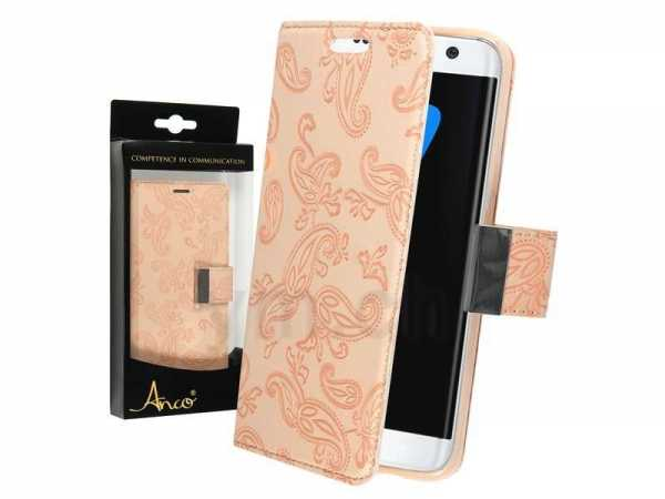 Samsung Galaxy S7 Edge Case - Book Case Flower - PU-Leder - Anco - beige - yourmobile.ch