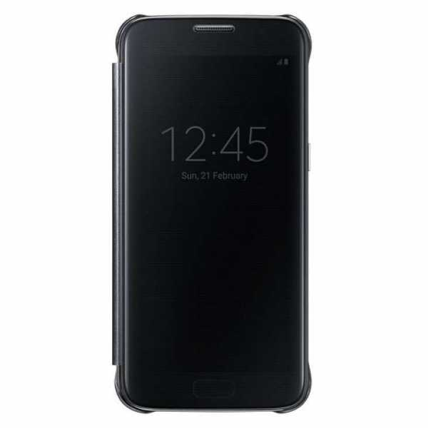 Samsung Galaxy S7 Edge Hülle - Samsung - Clear View Cover - schwarz - yourmobile.ch
