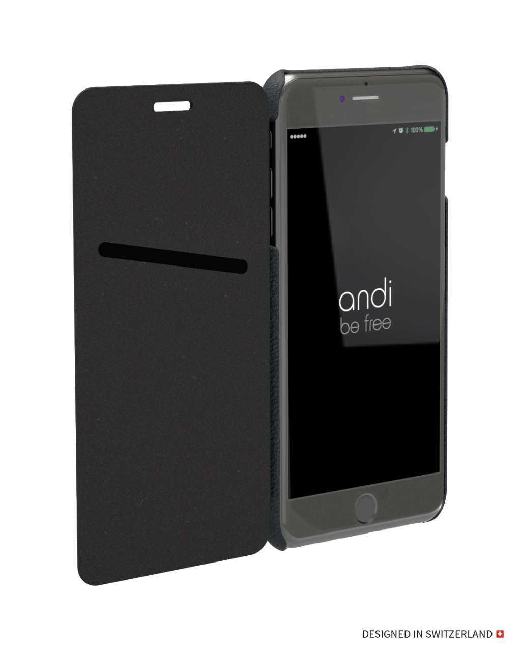 Image of andi be free Apple iPhone 8 Hülle - Wireless Charging Leder Book Case - schwarz