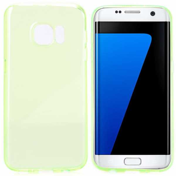 Samsung Galaxy S7 Edge Hülle - TPU Cover - FeatherLine - transparent-grün - yourmobile.ch